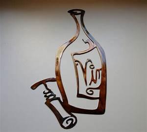 Vino! Metal Wall Art Decor, Wine Bottle and opener Copper