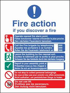 Fire Action English French German Manual Dial Sign