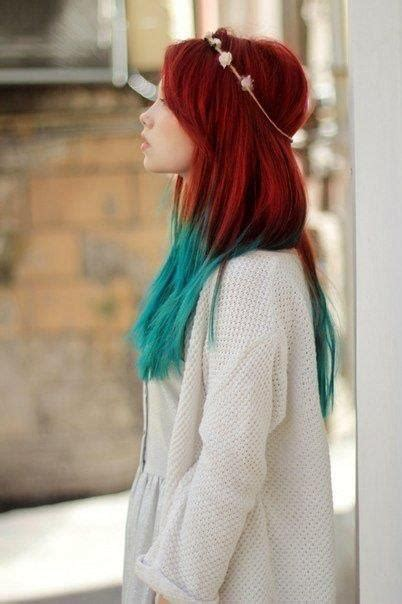 Bright Red Hair With Turquoise Ends Hair Pinterest