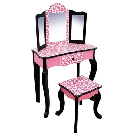 vanity table and stool teamson kids vanity table and stool set in black and pink