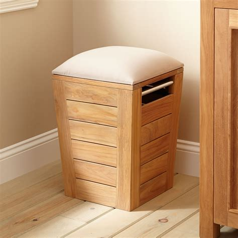 Wood Shower Stool by Teak Laundry Hamper Stool Small Bathroom
