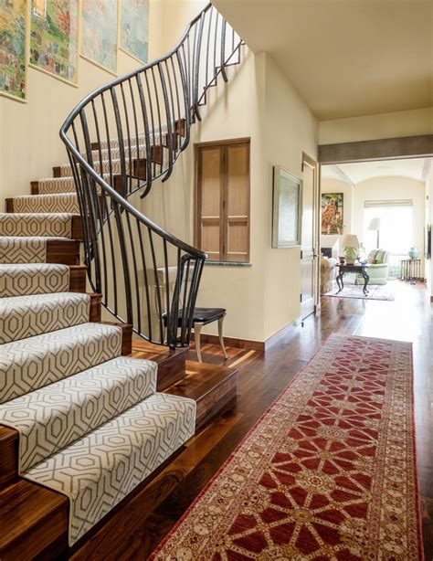 modern stair runners entry beach style  traditional
