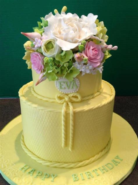 yellow  tier  birthday cake  gumpaste flowers