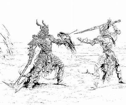 Skyrim Coloring Elder Scrolls Pages Dragon Sketch
