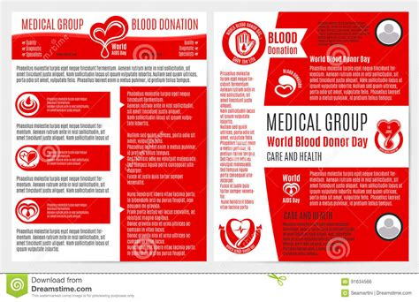 blood donation medical brochure poster template stock