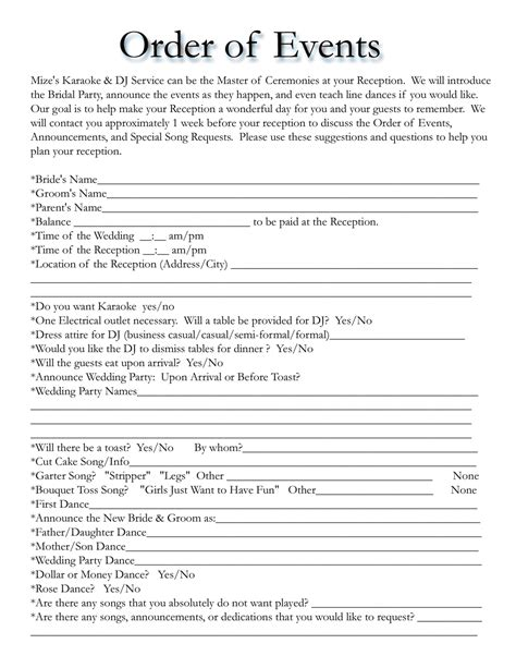 wedding reception timeline template wedding itinerary templates free wedding template projects to try wedding dj