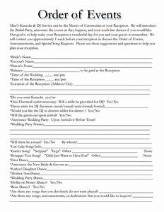 wedding itinerary templates free wedding template With mc template for wedding