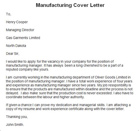 sample employee reference letter sample manufacturing cover letter manufacturing cover