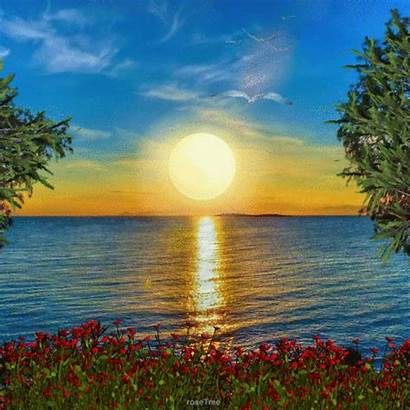 Soleil Nature Gifs Coucher Lever Scenery Claude