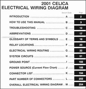 2001 Toyota Celica Wiring Diagram Manual Original