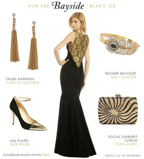 black  gold gown   black tie wedding