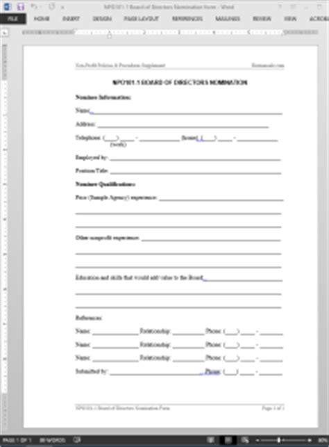 board  directors nomination template
