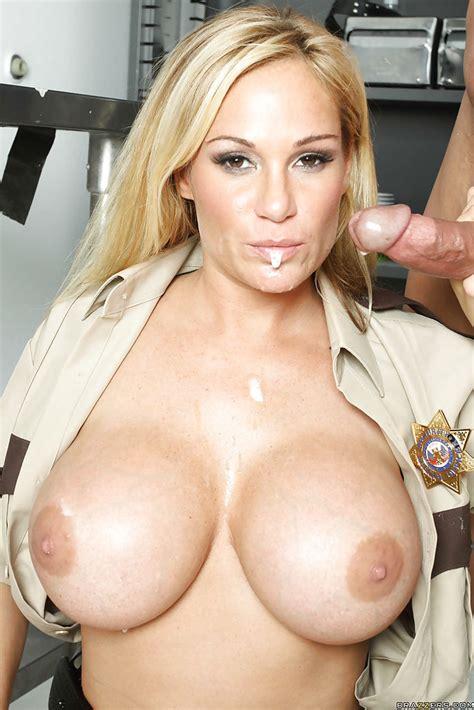 Hot Milf In Cop Uniform Tyler Faith Denudes Boobs And Gets