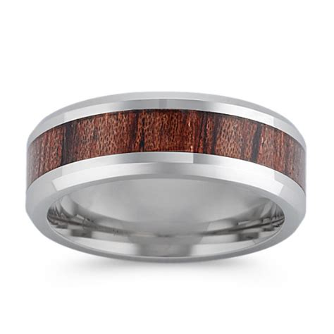 polished cobalt ring  wood inlay mm  shane