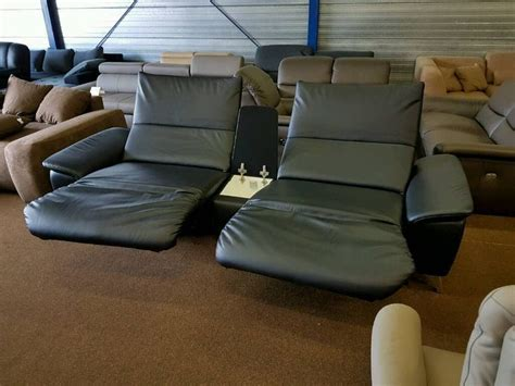 relax elektrisch neu exklusive trapezsofa in longlife leder schwarz mit 2 elektrisch verstellbare relax