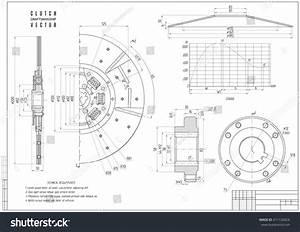 Technical Drawing Clutch Construction Draft Horizontal