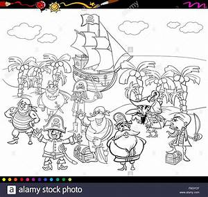 Black White Cartoon Illustrations Fantasy Stockfotos