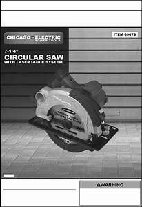 Chicago Electric Saw 69078 User Guide