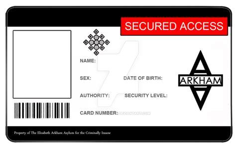 arkham asylum id card blank  vortexvisuals  deviantart