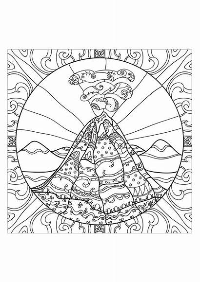 Coloring Volcano Pages Teens Adults Adult Stress