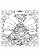 Volcano Coloring Adults Stress Adult Teens Anti Eruption Complex Sheets Drawing Zen Printable Zentangle Volcanic Doodle Mandala Volcanoes Mandalas Shield sketch template