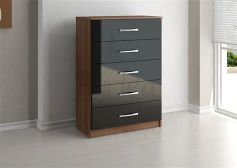Birlea Lynx Walnut With Black Gloss 5 Drawer Chest Of