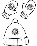 Coloring Winter Hat Popular Mittens sketch template