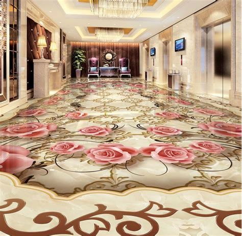 European jade stone pattern HD 3d flooring rose wallpaper