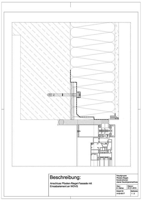pfosten riegel fassade detail schüco a 02 0017 anschluss einer pfosten riegel fassade mit einsatzelement an wdvs a 02 0017