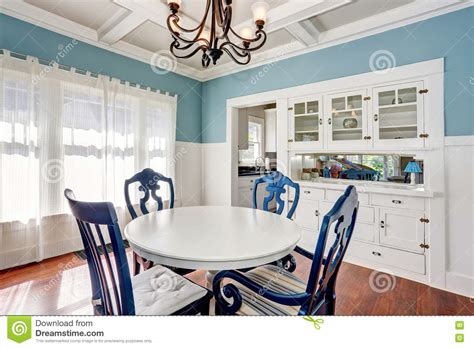 Set Of Blue Table Ls by Blue And White Dining Area With Table Set Stock