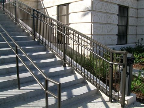 cool exterior wrought iron railings come with grey concrete stairs and black stained iron