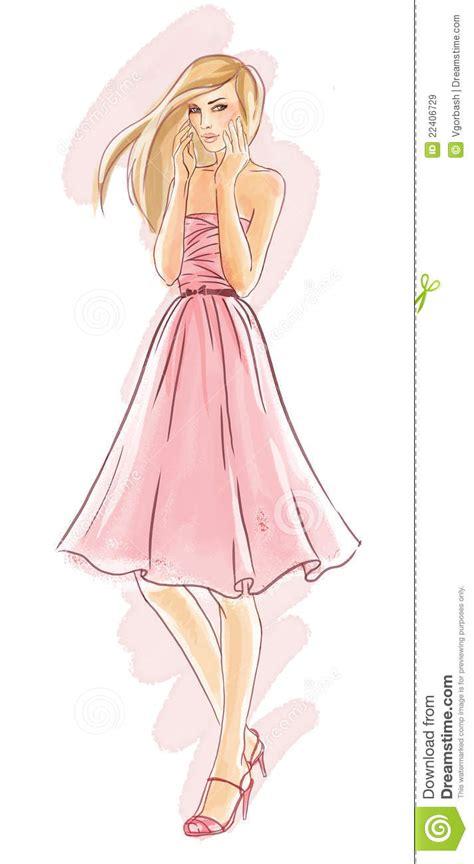 hand drawn fashion model  pink dress royalty  stock