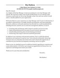 day spa resume sles leading professional manager cover letter exles