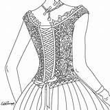 Coloring Pages Corset Books Adults Adult Colouring Clothing Therapy Colorful sketch template