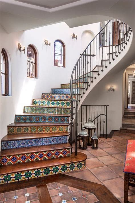 roof tiles wrought iron banister and painted stairs on