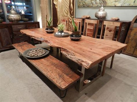 freeform dining table in acacia wood with chrome legs