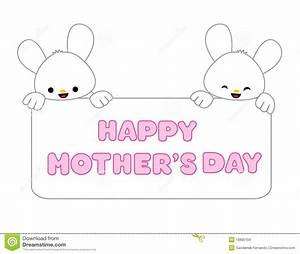Greeting Card For Mom With Cute Rabbit. Cartoon Vector ...