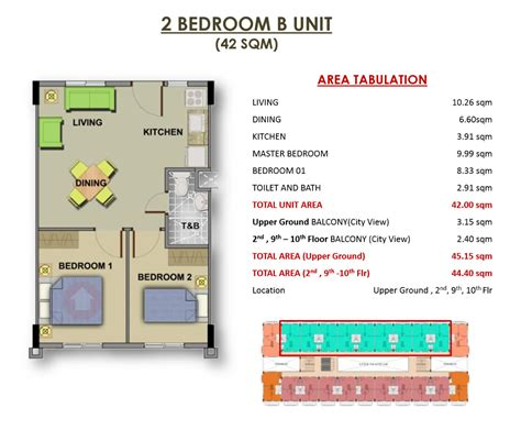 One Bedroom Unit Layout by Camella Northpoint To Town Medium Rise Condominium