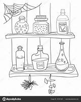 Toverdrank Pozione Magica Stockillustratie Zaubertrank Farbtonseite Coloritura Nataliebakunina sketch template