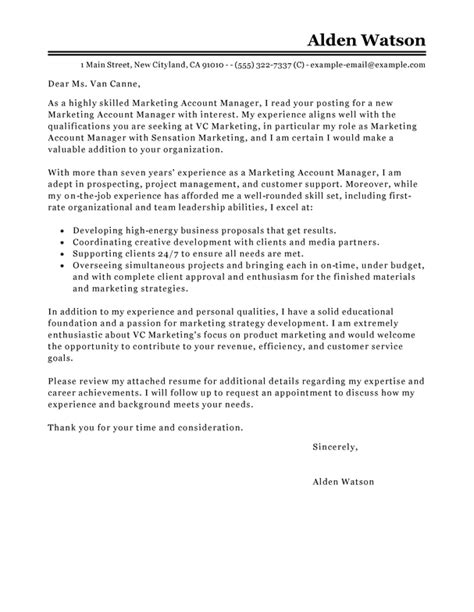 Account Manager Cover Letter by Free Account Manager Cover Letter Exles Templates