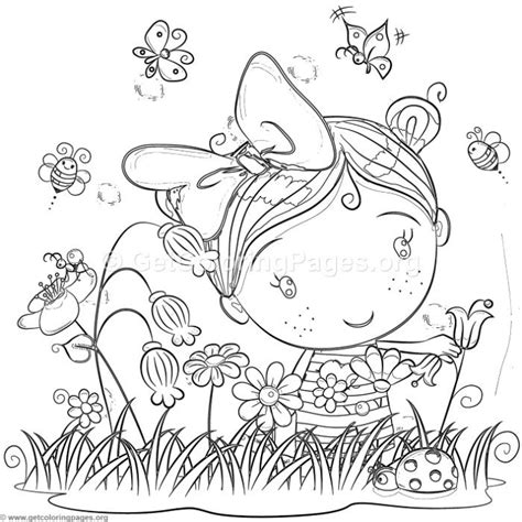 cute  girl   garden coloring pages