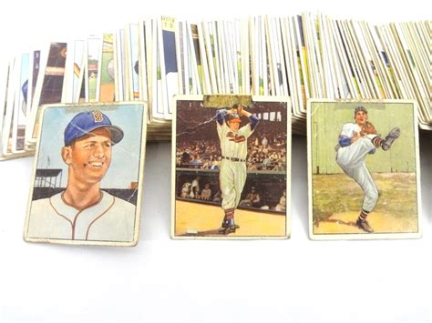 A gem mint 10 card's attributes include 60/40 or better centering, sharp focus, sharp corners, free of stains, no breaks in surface gloss, and little visible wear. Lot Detail - 1950 Bowman Baseball Card Near Set Missing 16 Cards Poor Grade
