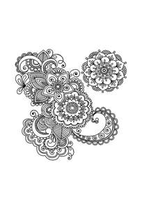 Lotus Flower Henna Designs Coloring Pages