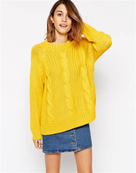 yellow cable knit sweater ganni sleeve cable knit sweater in yellow lyst