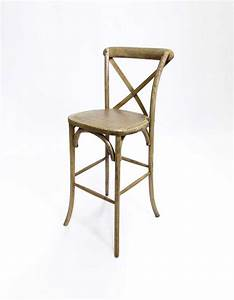 CROSS BACK BAR STOOL – WEATHERED OAK RSVP Party Rentals