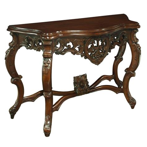 mahogany console table louis xv carved console table akd furniture 3947