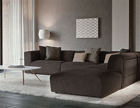 Nella Vetrina Rugiano Freud 6084/f6 Sectional Sofa In Leather
