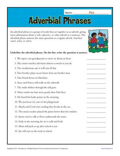 adverbial phrases free printable adverb worksheets