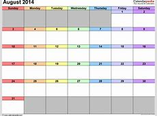 August 2014 Calendars for Word, Excel & PDF