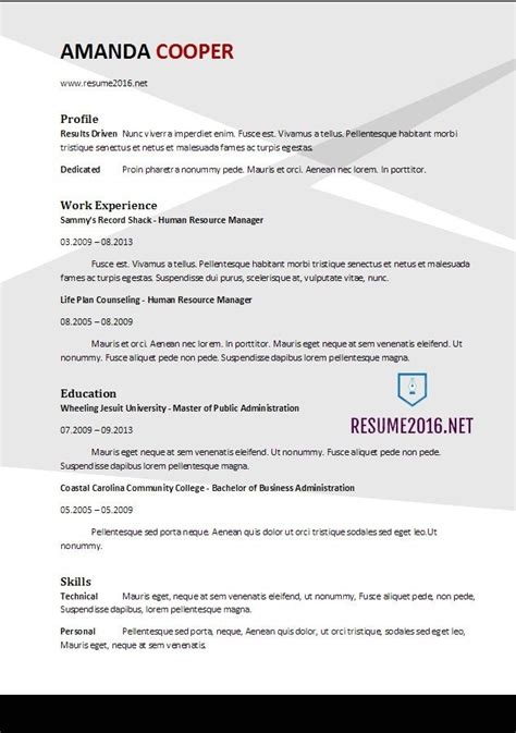 Best Resumes 2017 by Best Resume Template 2017 Learnhowtoloseweight Net